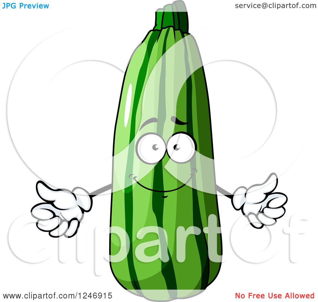 Clipart of a Zucchini Character.