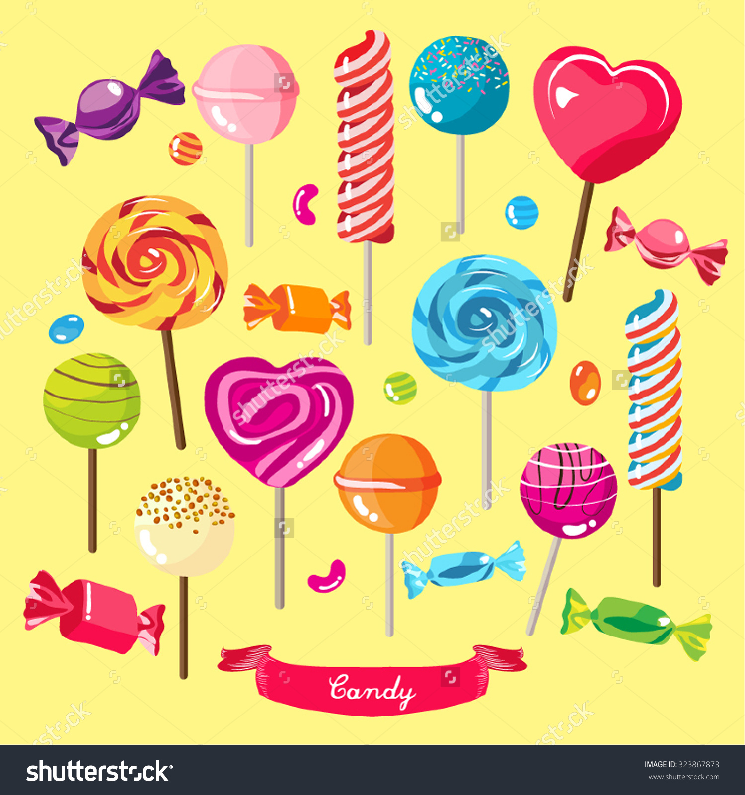 Different Types Candies Vector Design Illustration Stock.