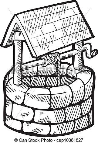 Vektor Illustration von bauernhaus, Skizze, brunnen.