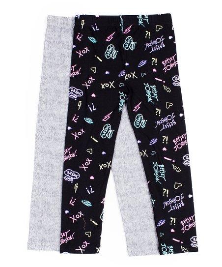 Betsey Johnson® Kids Black & Gray Logo Leggings Set.