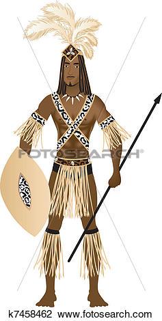 Clipart of Zulu Carnival Costume k7458462.