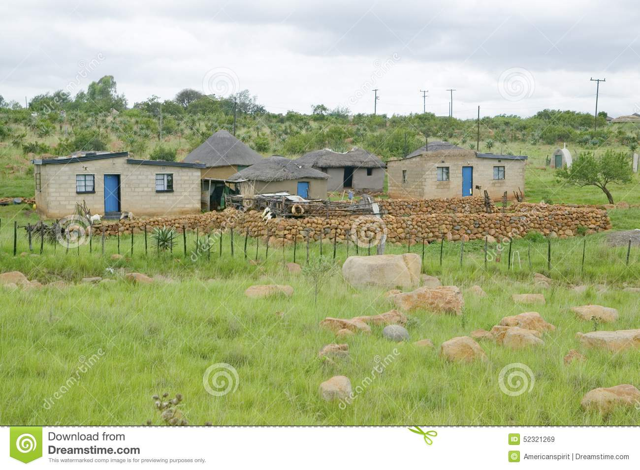Village Houses In Countryside Of Zululand, South Africa Stock.
