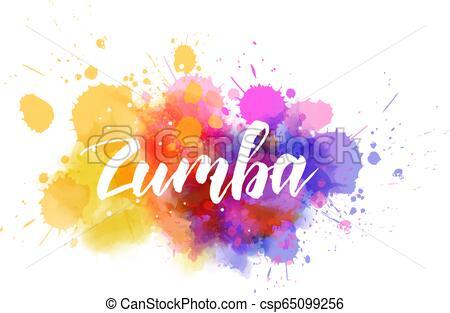 Zumba calligraphy on watercolor splash.
