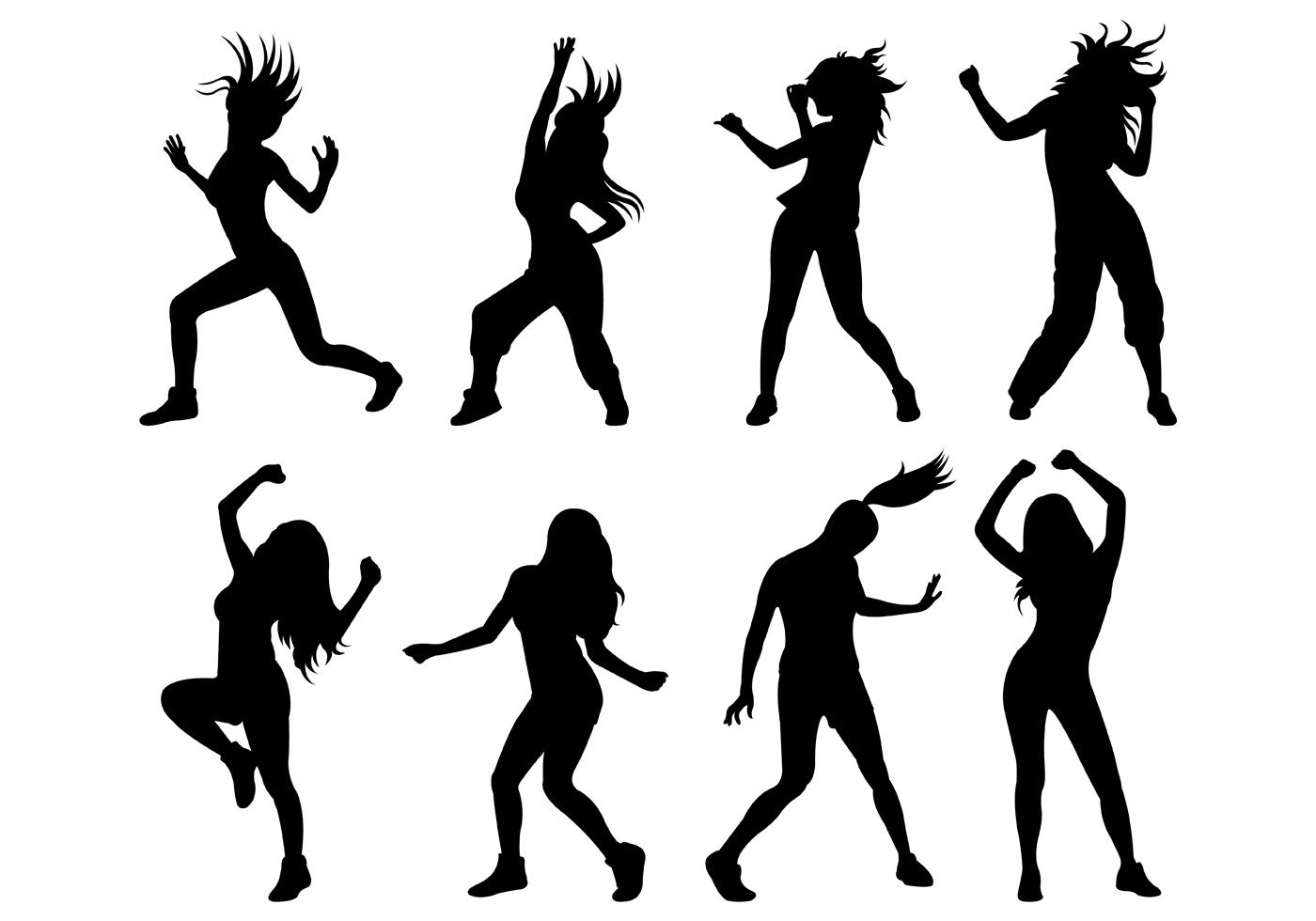 Set Of Zumba Silhouettes Vector. Choose from thousands of.