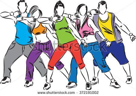 zumba dancers illustration.