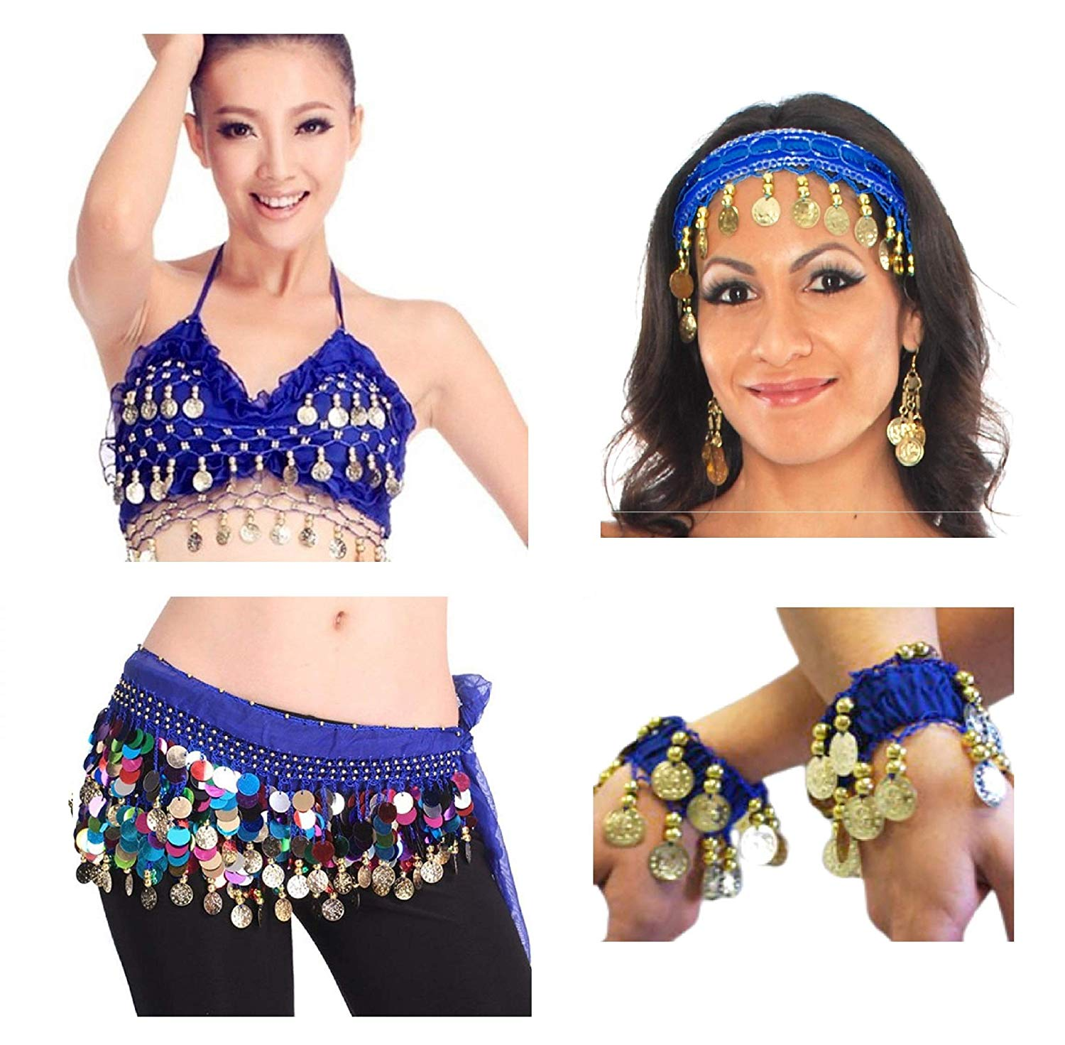 Vritraz Women\'s Chiffon Belly Dance Hip Waistband 1 Scarf, 1 Top, 1  Headband, 1 Handcuff with Ringy Golden Coins (Pack of 4).