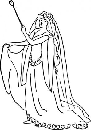 Gliederung Lady Mädchen Charakter Liebe Wand Krone Kleid, die.