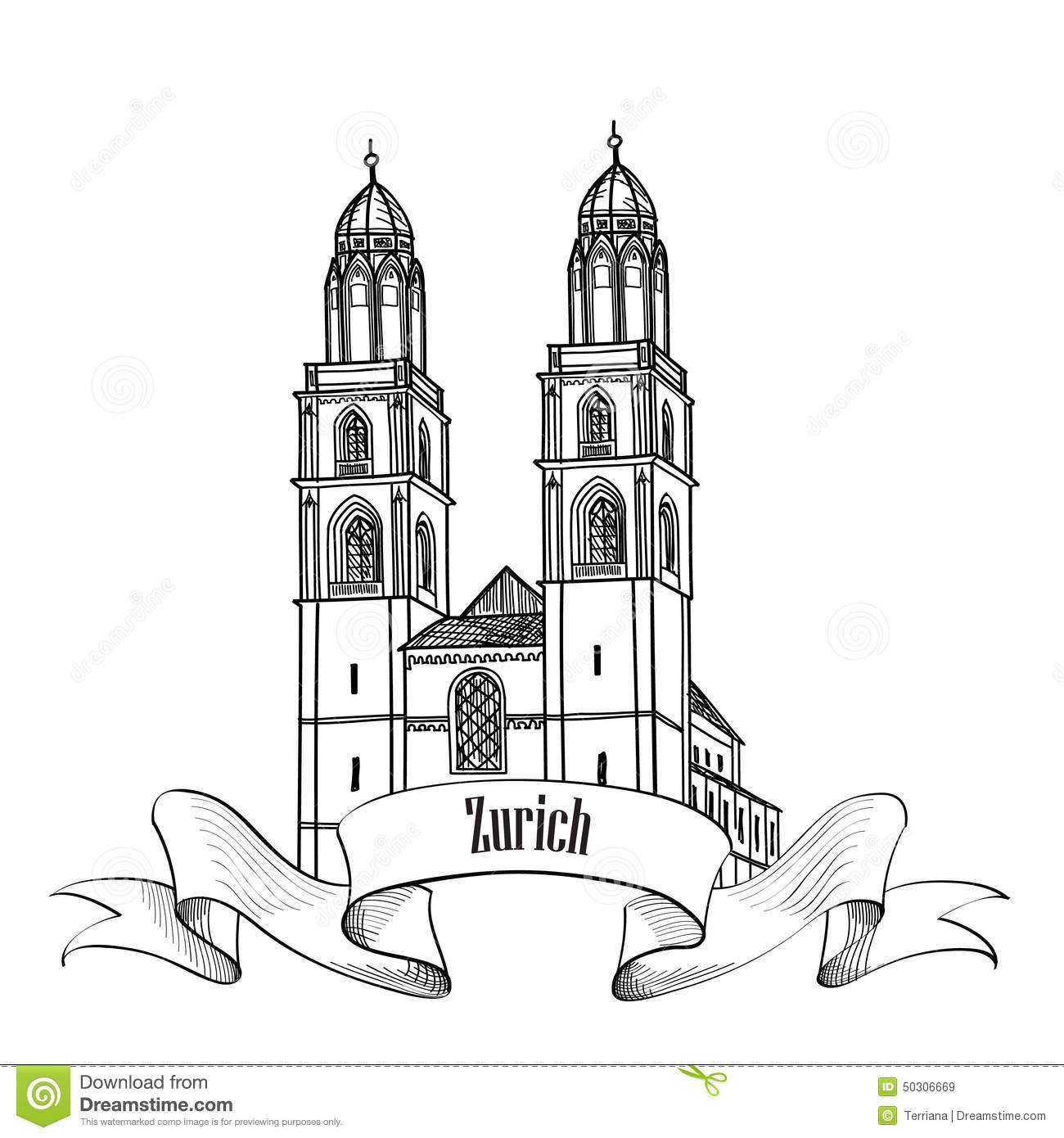 Zurich Cityscape Stock Illustrations.
