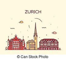 Clip Art Vector of Zurich Switzerland city skyline vector.