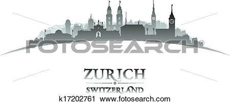 Clipart of Zurich Switzerland city skyline silhouette white.
