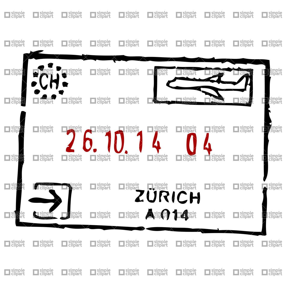Zurich passport stamp Vector Image #21522.