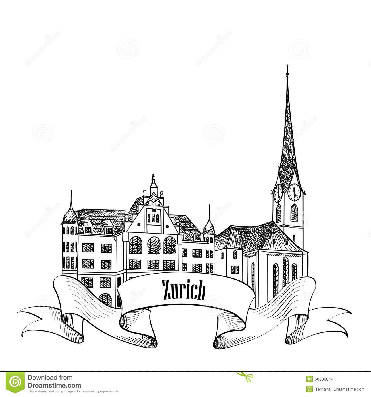 Zurich City Emblem. Switzerland Landmark Great Minster Label.