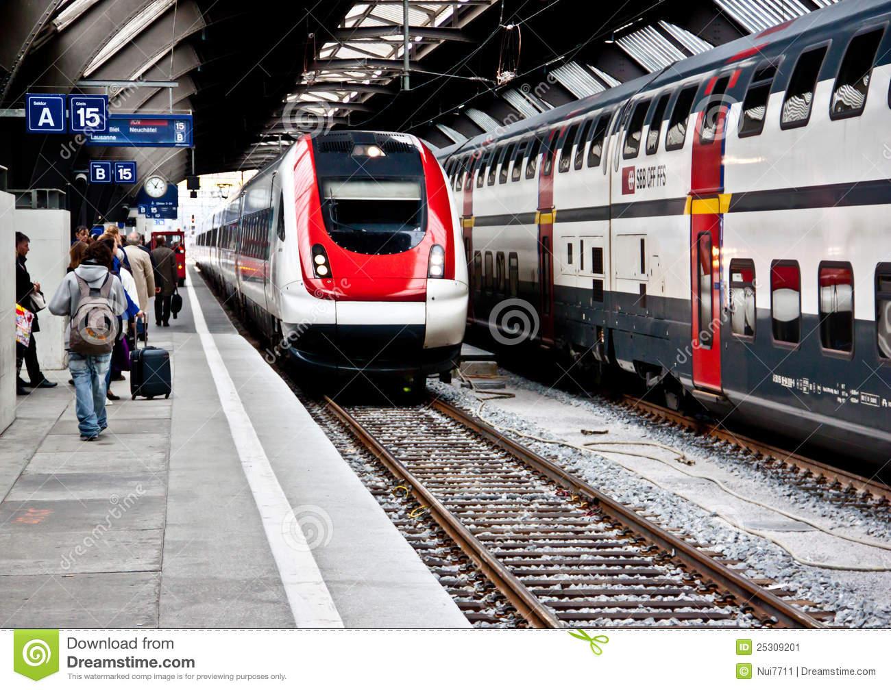 High Speed Train At Zurich HB Train Station 2 Editorial Photo.