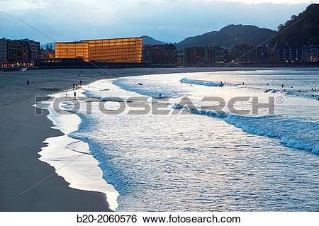 Stock Images of La Zurriola beach, Kursaal center, Donostia (San.