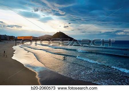 Stock Photo of La Zurriola beach, Kursaal center, Donostia (San.