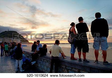 Stock Photo of Terraces on the beach of La Zurriola, Jazz Festival.