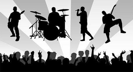 Band Material mit der Begeisterung der Zuschauer silhouette.