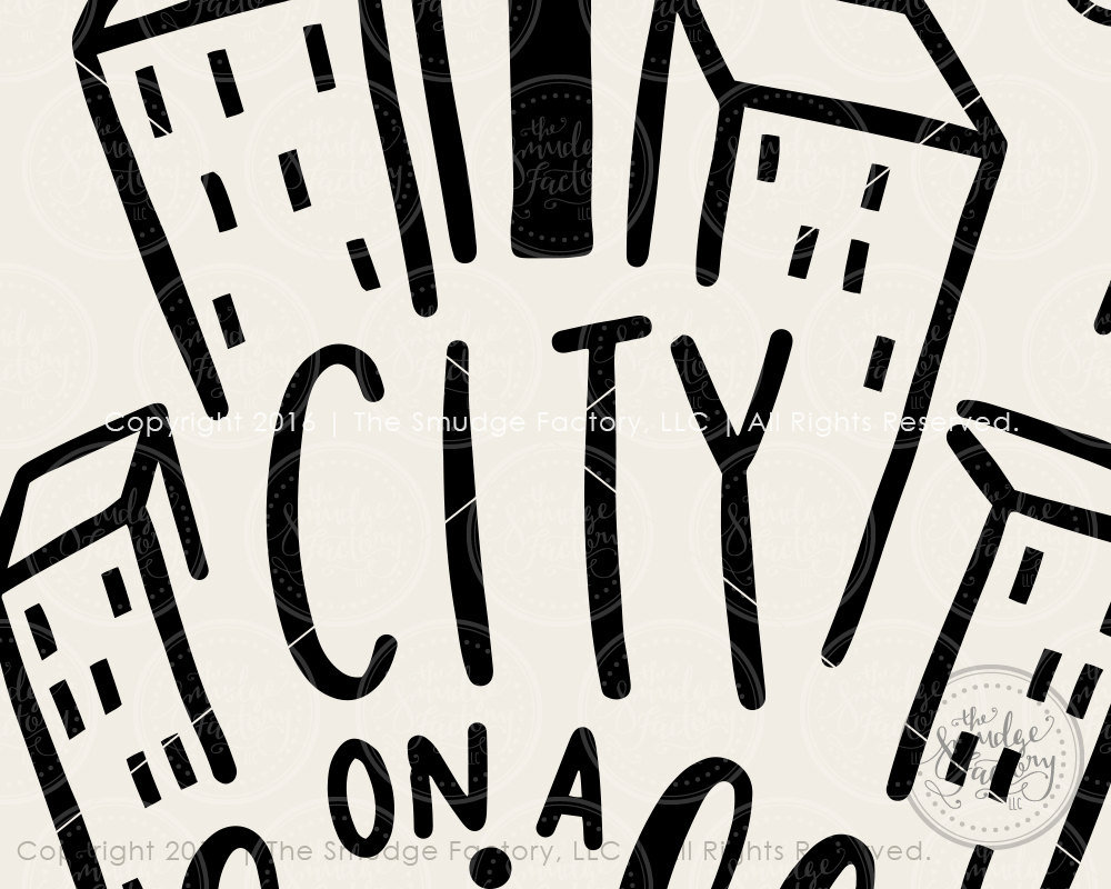 Bible Verse Print, City On A Hill Printable, City Clipart, Matthew.