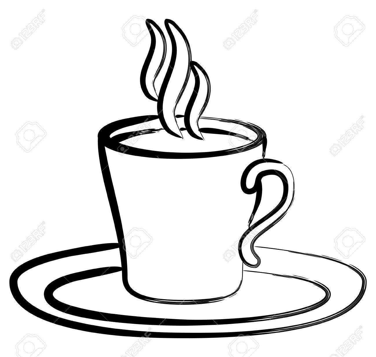 Art Zwart Wit Koffie In Beker Royalty Vrije Cliparts, Vectoren, En.