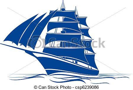 Clip Art Vektor von Schiff, zweimaster.