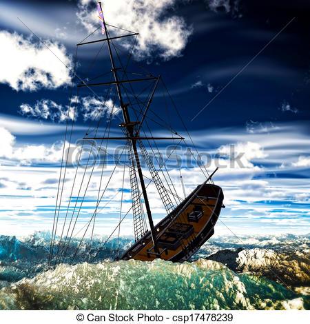Zeichnungen von Sinken, Pirat, zweimaster, auf, stürmisch, Meere.