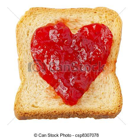Bilder von zwieback, mit, erdbeer, marmelade, in, FORM, von, herz.