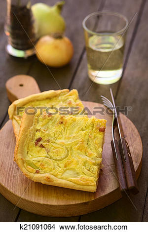 Stock Photo of German Zwiebelkuchen or Onion Cake k21091064.