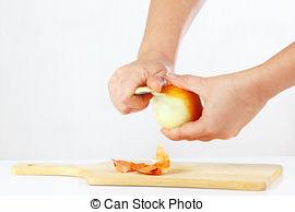 Stock Bild von schale, Messer, Zwiebel, Hände.