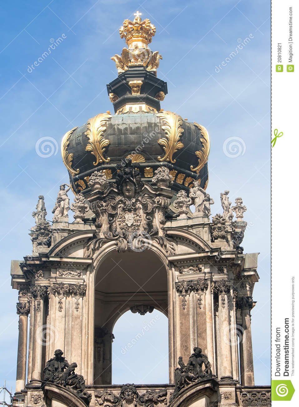 The Kronentor Of The Palace Zwinger In Dresden Stock Image.