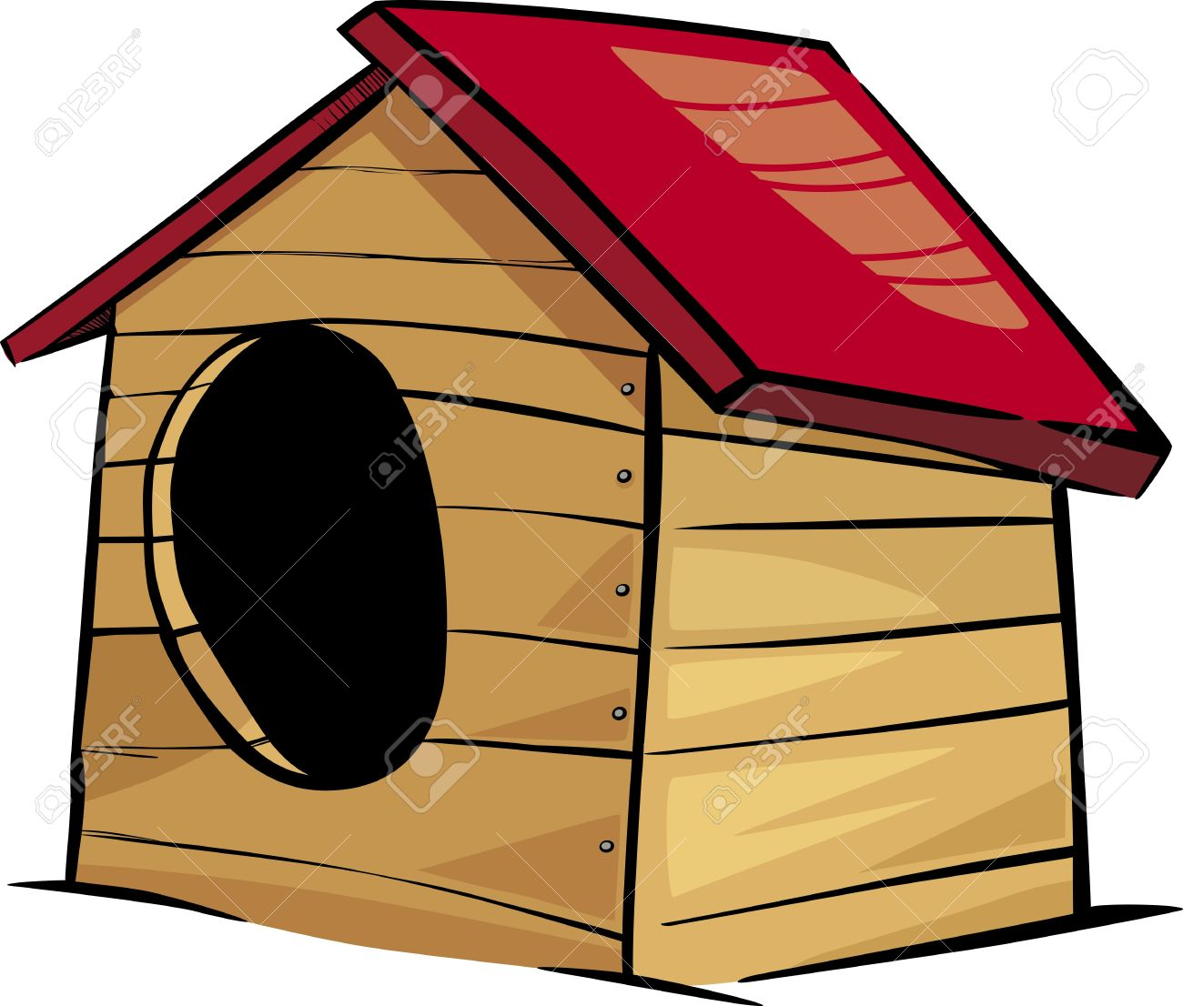 Cartoon Illustration Von Doghouse Oder Zwinger Clip Art Lizenzfrei.