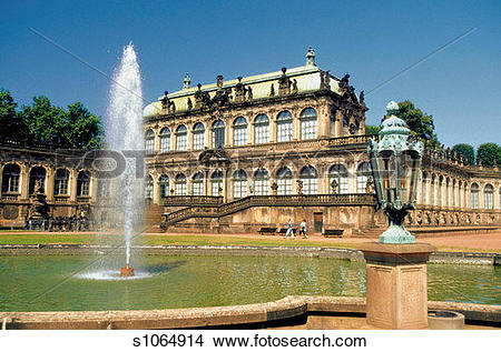 Stock Photo of Fountain in front of the Zwinger Palace, Dresden.