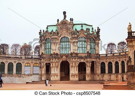 Pictures of Zwinger Palace in Dresden is major German landmark.