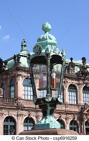 Stock Photographs of Baroque street lamp in Dresden Zwinger.