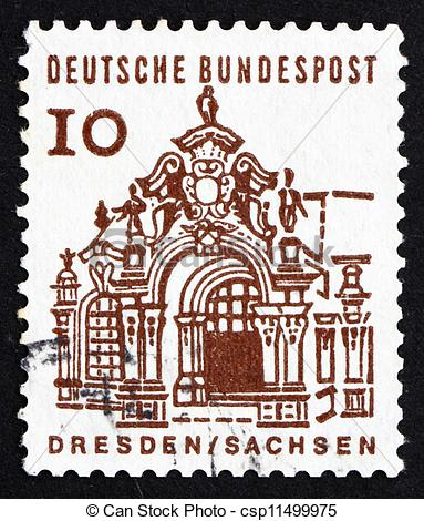 Picture of Postage stamp Germany 1965 Wall Pavilion, Zwinger.