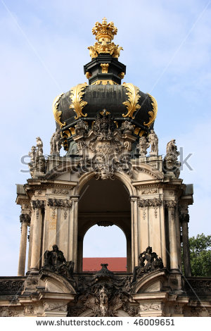Beautiful Zwinger Palace Detail In Dresden, Sachsen, Germany Stock.