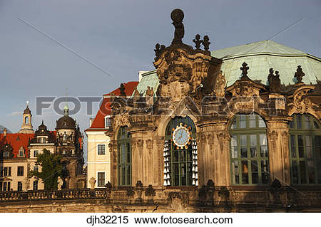 Stock Image of Germany, Saxony, Dresden, Zwinger Palace, Rampart.
